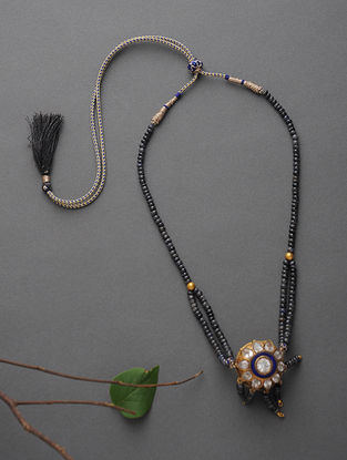 Blue Sapphire Beaded Gold Necklace