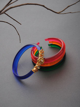 Multicolored Polki Gold Bangles Set of 4 (Bangle Size -2/8)