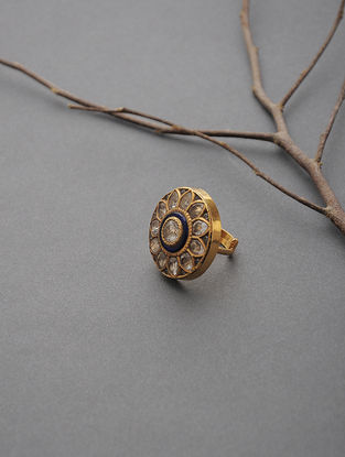 Gold Adjustable Ring with Jadau Work