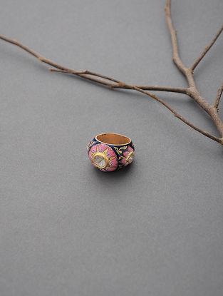 Pink-Blue Enameled Polki Gold Ring (Ring Size -6.5)