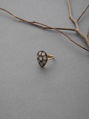 Black Enameled Polki Gold Ring (Ring Size -6)