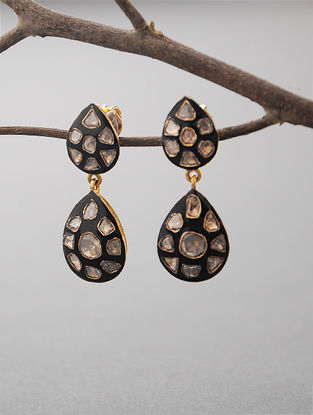 Black Enameled Polki Earrings