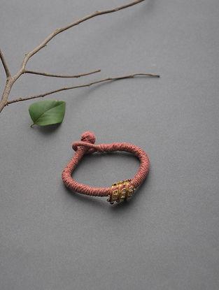 Pink Thread Polki Gold Bracelet