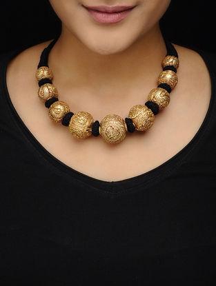 Black Thread Gold Tone Copper Necklace