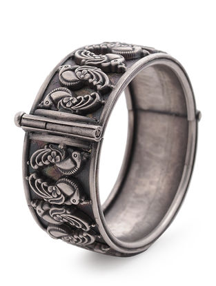 Hinged Opening Tribal Silver Bangle with Peacock Motif (Bangle Size -2/2)