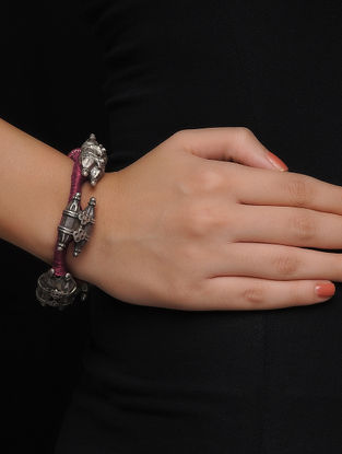 Maroon Thread Tribal Silver Bracelet