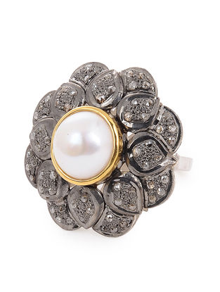 Diamond and Pearl Gold and Silver Ring (Ring Size 7)