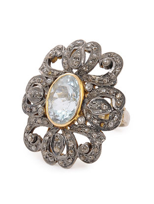 Diamond and Aquamarine Gold-plated Silver Ring (Ring Size -6.5)