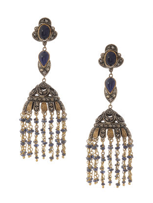 Blue Sapphire and Diamond Gold and Silver Jhumkis