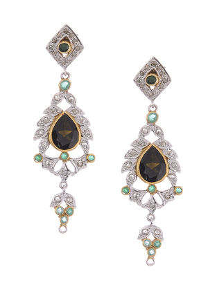 Tourmaline and Diamond Gold and Silver Earrings