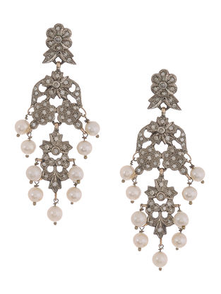Diamond and Pearl Gold and Silver Earrings