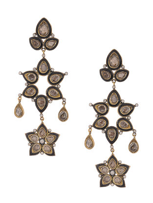 Black Enameled Polki Diamond Gold and Silver Earrings