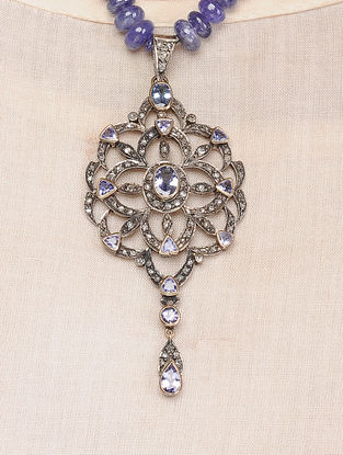 Tanzanite Beaded Diamond Gold and Silver Necklace