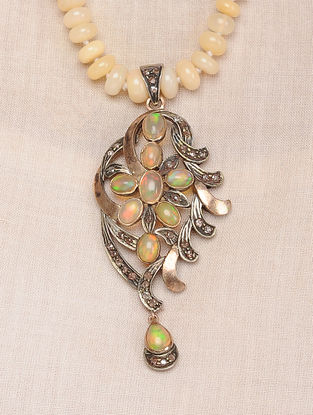Opal Beaded Diamond Gold and Silver Necklace