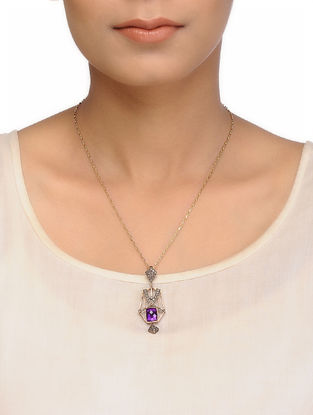 Amethyst and Diamond Gold and Silver Necklace