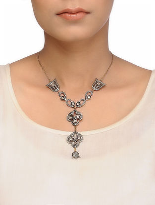 Black Enameled Diamond Gold and Silver Necklace