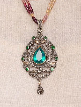 Green Topaz and Multi Sapphire Beaded Diamond Gold and Silver Necklace