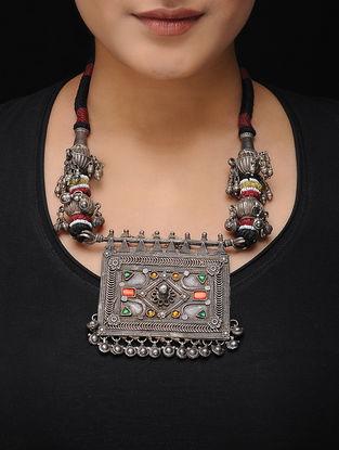 Black-Maroon Thread Vintage Silver Necklace