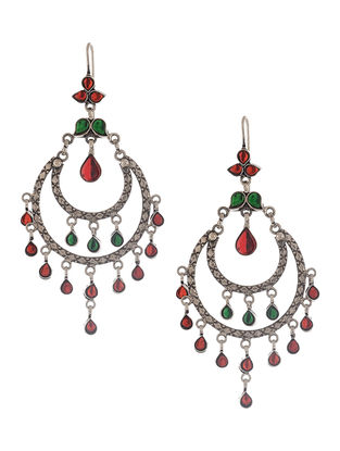 Red-Green Kundan-inspired Silver Earrings