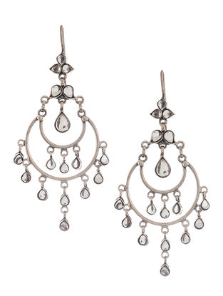 Kundan-inspired Silver Earrings