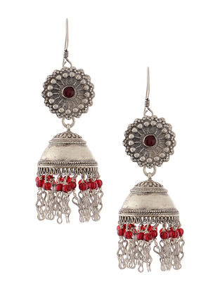 Red Onyx Tribal Silver Jhumkis