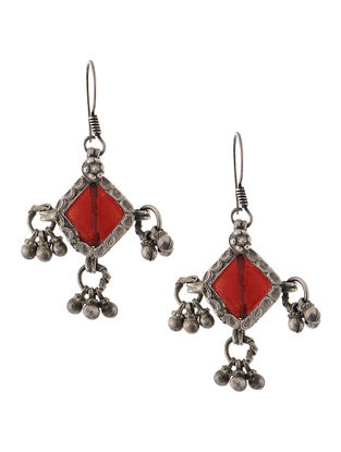 Red Tribal Silver Earrings
