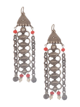 Red Onyx Tribal Silver Earrings