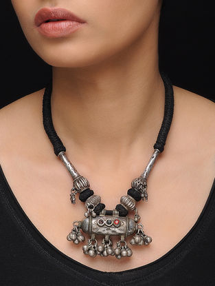 Black-White Thread Tribal Silver Necklace