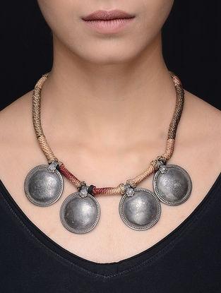 Beige Thread Tribal Silver Necklace