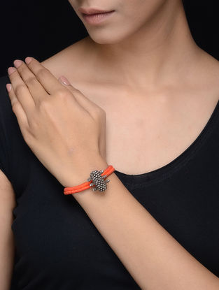 Orange Thread Tribal Silver Bracelet