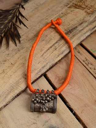 Orange Thread Tribal Silver Necklace