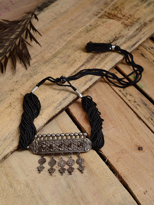 Black Beaded Tribal Silver Necklace with Floral Motif
