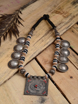 Black-Beige Thread Tribal Silver Necklace