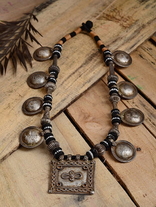 Black-Peach Thread Tribal Silver Necklace