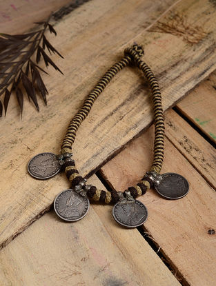 Grey-Brown Thread Tribal Silver Necklace