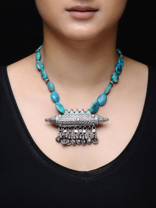 Turquoise Beaded Tribal Silver Necklace
