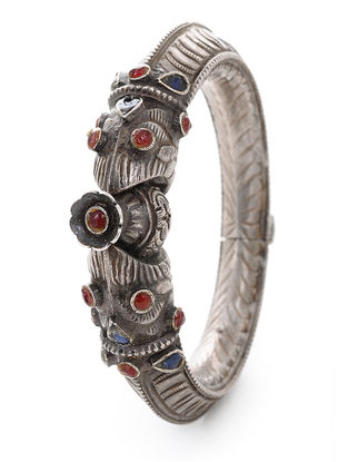 Red Hinged Opening Tribal Silver Bangle (Bangle Size -2/10)