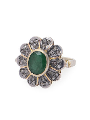 Emerald Diamond Silver and Gold Ring (Ring Size -7.6)