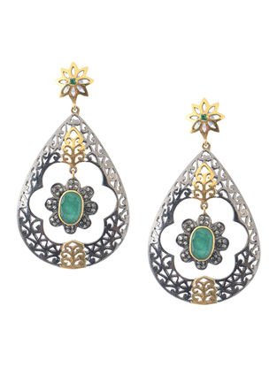 Emerald Diamond Silver and Gold Earrings