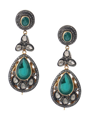 Green Onyx Diamond Polki Silver and Gold Earrings