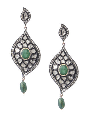 Emerald Diamond Polki Silver and Gold Earrings