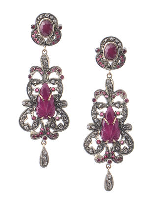Ruby Diamond Silver and Gold Earrings