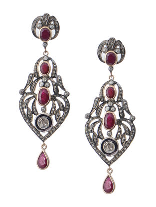 Ruby Diamond Polki Silver and Gold Earrings