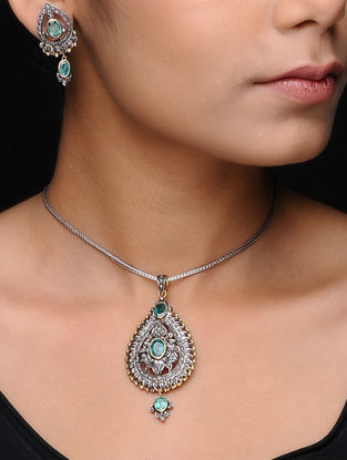 Emerald Diamond Silver and Gold Pendant with Earrings (Set of 2)
