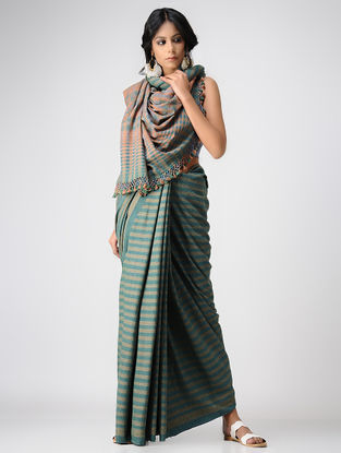 Green-Beige Khadi Cotton Saree with Tassels