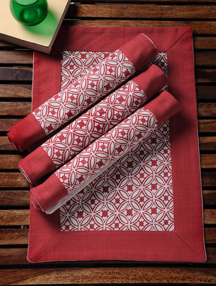 Red-White Printed Cotton Slub Place Mats (Set of 4) (19in x 13in)