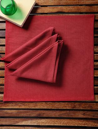 Red Cotton Slub Napkins (Set of 4) (15in x 15in)