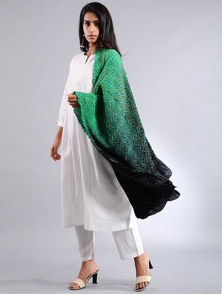 Green-Black Bandhej Silk Dupatta