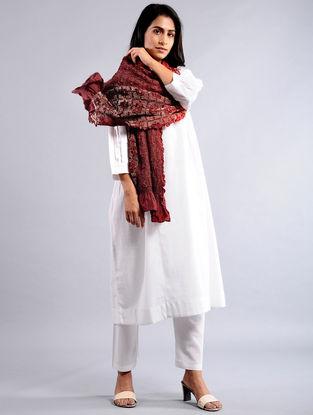 Red-Maroon Bandhej Silk Dupatta