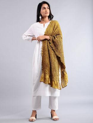 Yellow-Beige Bandhej Silk Dupatta